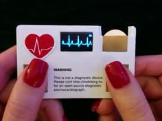 Business Card with a Built-in Electrocardiograph