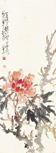 (Taiwan) Peonies by Zhao Shao'ang Sumi E Painting, Japan Painting, China Painting, Chinese Painting Flowers, Chinese Flowers, Japanese Drawings, Japanese Art, Tinta China, Art Japonais