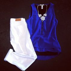 white pants + cobalt blue tank.