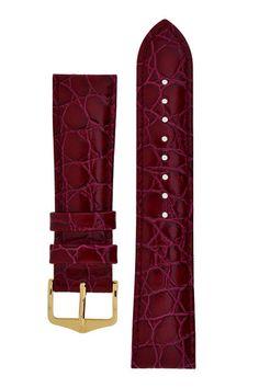 Hirsch CROCOGRAIN Crocodile Embossed Leather Watch Strap in BURGUNDY – WatchObsession