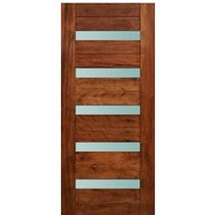 Modern Architectural Doors Model Grande. Contemporary Mahogany entry door with slim white laminated glass panels. Customize the door for your home today!