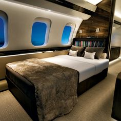 VistaJet embraces the luxe life with double beds and cashmere throws. Pictured: the interior of a Bombardier Global Luxury Jets, Luxury Private Jets, Private Plane, Private Jet Interior, Aircraft Interiors, Luxe Life, Unique Cars, Home Decor Bedroom, Play Houses