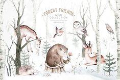 Scandinavian forest friends by Peace ART on @creativemarket