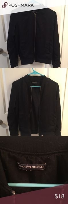 Brandy Melville silky black bomber jacket Silky material. Has some pilling but in good condition Brandy Melville Jackets & Coats