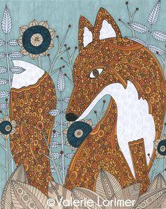 The Secret Visitor Fox Animal Garden Whimsical by ValerieLorimer