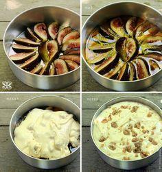 ¾ xc (chá) de manteiga;   1 xc de açúcar; 2 ovos; 2 xc de farinha de trigo; 1 copo de iogurte natural; 1 colher de fermento; 1 colher (chá) de bicabornato de sódio; 1 xc de nozes picadas; 5 colheres (sopa) de mel; figos frescos. Bata o açúcar com a manteiga, acrescente os ovos, o iogurte natural e a farinha de trigo. Bata bem até a massa ficar aerada e com bolhas de ar. Coloque o fermento e o bicarbonato e mexa com uma espátula, salpique as nozes. Forre a assadeira com figos e regue com mel