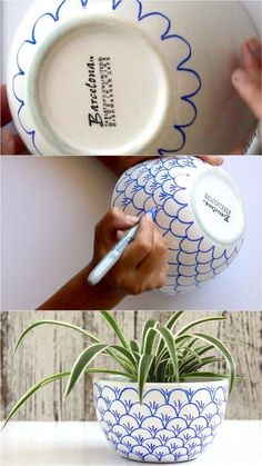 No bake Sharpie art bowls: a better finishing secret for DIY beautiful Anthropologie style designs on ceramic bowls or mugs. - A Piece of Rainbow crafts, DIY No Bake Sharpie Art Bowls Arte Sharpie, Sharpie Crafts, Sharpie Pens, Sharpies, Diy Sharpie Mug, Upcycled Crafts, Diy Home Crafts, Arts And Crafts, Home Craft Ideas