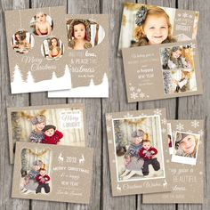 Holiday Card Templates - Christmas Card Templates - Kraft Christmas Templates - Photography Photo Cards - CS09 by StillbrookDesigns on Etsy https://www.etsy.com/listing/201230512/holiday-card-templates-christmas-card