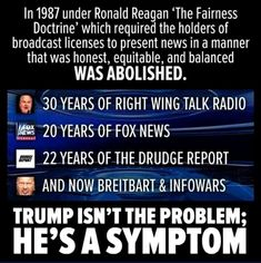 "Nope.  Fairness Doctrine was anything but ""fair"".  Just a way for Liberals to continue to try to shut down conservative voices. Liberals are all for free speech as long as what's being said corresponds with their ideology."