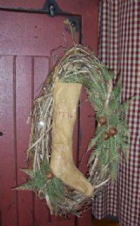 Prim Christmas Stocking Wreath...