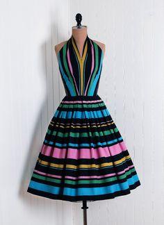 1950's Vintage Candy-Stripe Rainbow Cotton-Print Dress