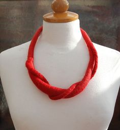 Felted necklace, Art necklace, red , felt jewelry, felted art,gift