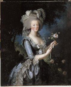 """La reine Marie-Antoinette dit """"à la Rose"""" (1755-1793)  Author :  Vigée-Le Brun Elisabeth Louise (1755-1842)  Photo Credit :  Nous contacter au préalable pour la publicité. (C) RMN-GP (Château de Versailles) / Photographe inconnu  Period :  18th century, modern age  Date :  1783"""