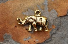 1 Antique Gold Elephant Charm   Nunn by LindenAvenueDesigns