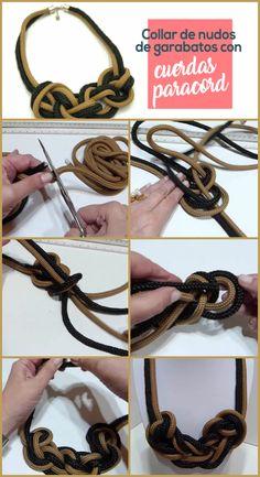 Textile Jewelry, Macrame Jewelry, Diy Jewelry, Handmade Jewelry, Jewelry Making, Fabric Necklace, Rope Necklace, Crochet Necklace, Paracord