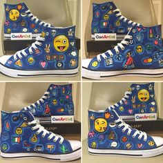 Emoji Theme Hi tops hand painted by CONARTISTIRL