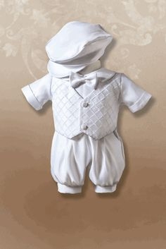 Boy's Christening Romper with Cross-Hatched Vest