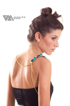 Leather Braid Gold Epaulette Necklace. $18.00, via Etsy.