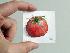 Tomato, miniature, watercolor painting, red tomato, vegetable art. Hand-painted by artist Ilse Hviid,  small veggie wall decor. dolls-house