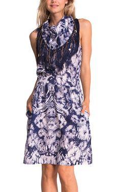 buyinvite.com.au - Desigual | Cotton Etnico Faux Scarf Neckline Sleeveless Dress Twilight Blue