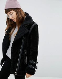 I WANT!   ASOS   ASOS Suede Aviator Jacket with Faux Shearling