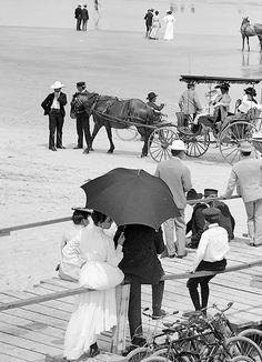 Daytona Beach, Florida, circa 1904. Bathing hour on the beach at Seabreeze.