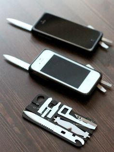TaskOne: iPhone case as (removable) pocket knife. This has got to be the first useful iPhone I've seen. Coque Ipad, Coque Iphone, Tech Gadgets, Cool Gadgets, Protection Iphone, Hidden Weapons, Armas Ninja, Accessoires Iphone, Case Knives