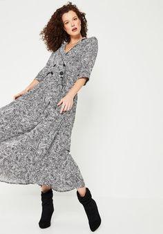 83c0ada659592 Robe longue imprimée Femme - Imprimé écru - Robes - Femme - Promod