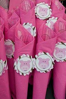 pig party napkin wraps