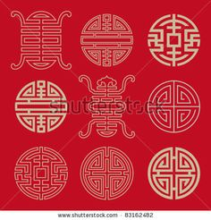 Traditional Chinese Lucky Symbols For Blessing People Having A Long-Life Stock Vector 83162482 : Shutterstock Chinese Crafts, Chinese Art, Chinese Style, Chinese Garden, Chinese Design, Asian Design, Mandala, Design Elements, Design Art