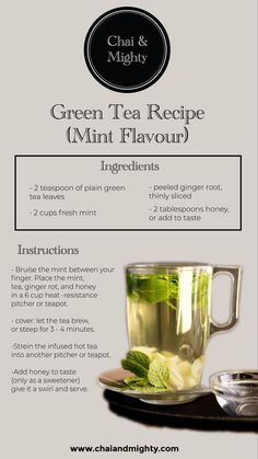 Everybody is drinking green tea, but what if we just add a little flavour to it and make it even more amazing? Here is the recipe for green tea with mint flavour that will make you love green tea even more! Green Tea Recipes, Iced Tea Recipes, Yummy Drinks, Healthy Drinks, Best Tea Brands, Bistro Food, Chai Recipe, Green Tea Benefits, Tea Latte