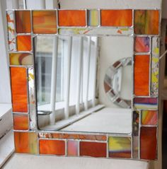 Stained Glass Copperfoiled Square / Rectangular Mirror MADE TO Stained Glass Mirror, Making Stained Glass, Glass Mirrors, Stained Glass Patterns Free, Handmade Mirrors, Glass Christmas Tree, Round Mirrors, Sea Glass, Etsy