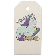 #Chubby Unicorn Eating a Rainbow - A Magical Mess Wooden Gift Tags - #funny #unicorn #unicorns #horse #horses #magical #colourful #fantasy