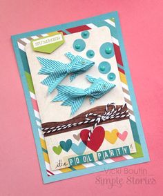 It's a Pool Party by Vicki Boutin - Scrapbook.com- Use Simple Stories epoxy dots as bubbles for fish on a pool party invitation.