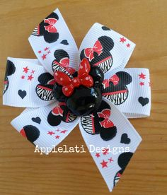 Girls Minnie Mouse Inspired Zebra Hair Bow / Girls Character Bow / Party Favor / Birthday Bow Gift