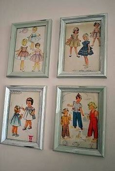Frame old patterns for your sewing room. ;) What a good idea.