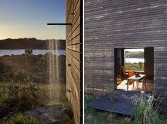 Out door shower, plywood panels.