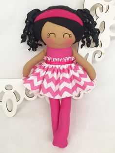 Black Handmade Dolls Fabric Doll Girl Gift by SewManyPretties