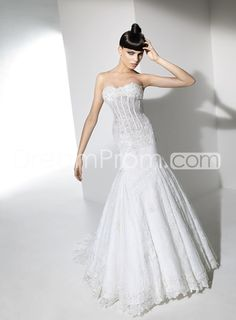 [$216.09] Gorgeous Trumpet/Mermaid Strapless Floor-Length Lace Chapel Wedding Dresses 2016 New Arrival