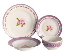 Purple Roses, Pink, Bone China, Bones, Flora, Decorative Plates, Tableware, Kitchen, Home Decor