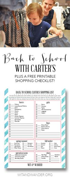 Free Printable Back to School Checklist (Sponsored by Carter's)