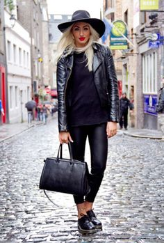 All black with Dr Marten's & fedora Street Style: October 2013