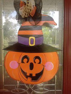 Jack o lantern, pumpkin head door hanging original design by Shirleys treasures