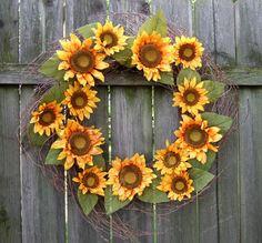 Fall Wreath  Fall Sunflower Wreath  Fall Wreath by countryprim, $50.00