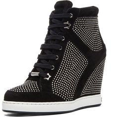 Jimmy Choo Panama Suede Wedge Sneakers ($642) ❤ liked on Polyvore featuring shoes, sneakers, wedges, heels, suede wedge shoes, suede sneakers, heel sneakers, studded shoes and hidden wedge sneakers