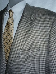 Mens SILK WOOL Blend Blazer Sport Coat Jacket Houndstooth Meeting Street 46L #MeetingStreet #TwoButton