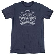 The Family Ties Young Republicans Club Navy Ringer T-Shirt from Big Texas is an Officially Licensed Family Ties mens short-sleeve t-shirt. Made from 100% cotton, the navy t-shirt is an exceptional men