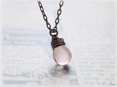 Rose pink czech glass necklace wire wrapped by MacKenziesAttic, $14.00