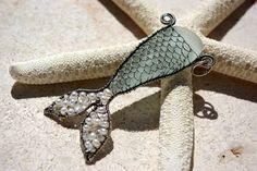 SEA FOAM mermaids tail wire wrapped seaglass pendant.. $182.00, via Etsy.