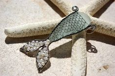 SEA FOAM mermaids tail wire wrapped seaglass pendant